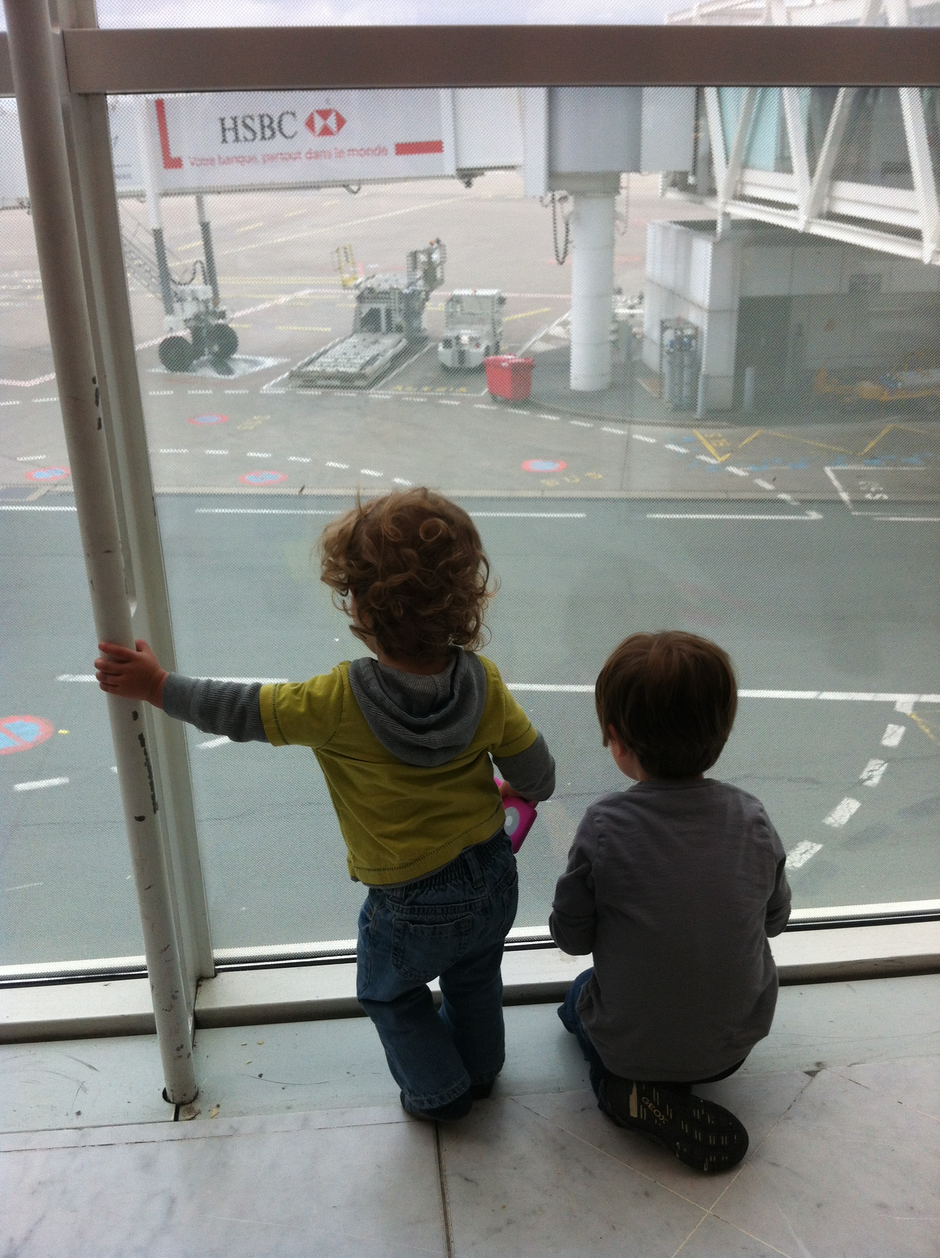Watching the planes in Paris.