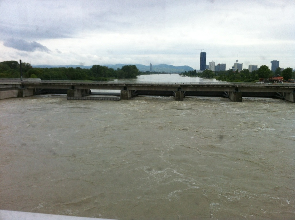 More of the New Donau -- angry brown water (taken from the U2 over Praterbrucke)