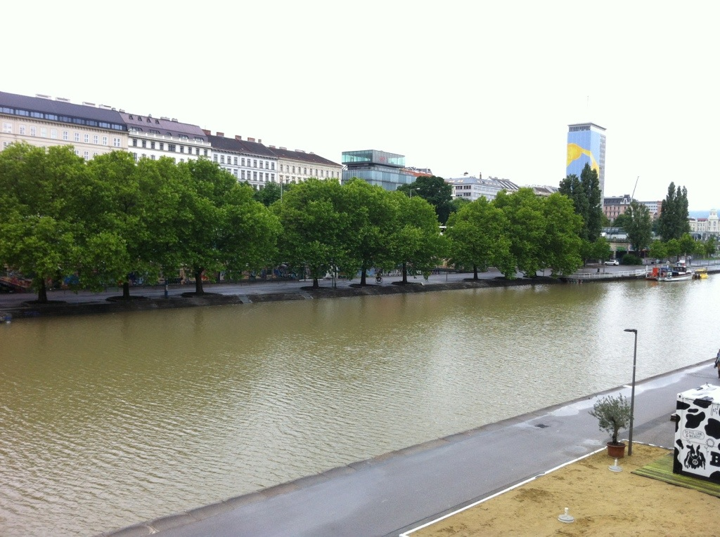Donaukanal -- the distance from the promenade to the water is usually several feet, not several steps